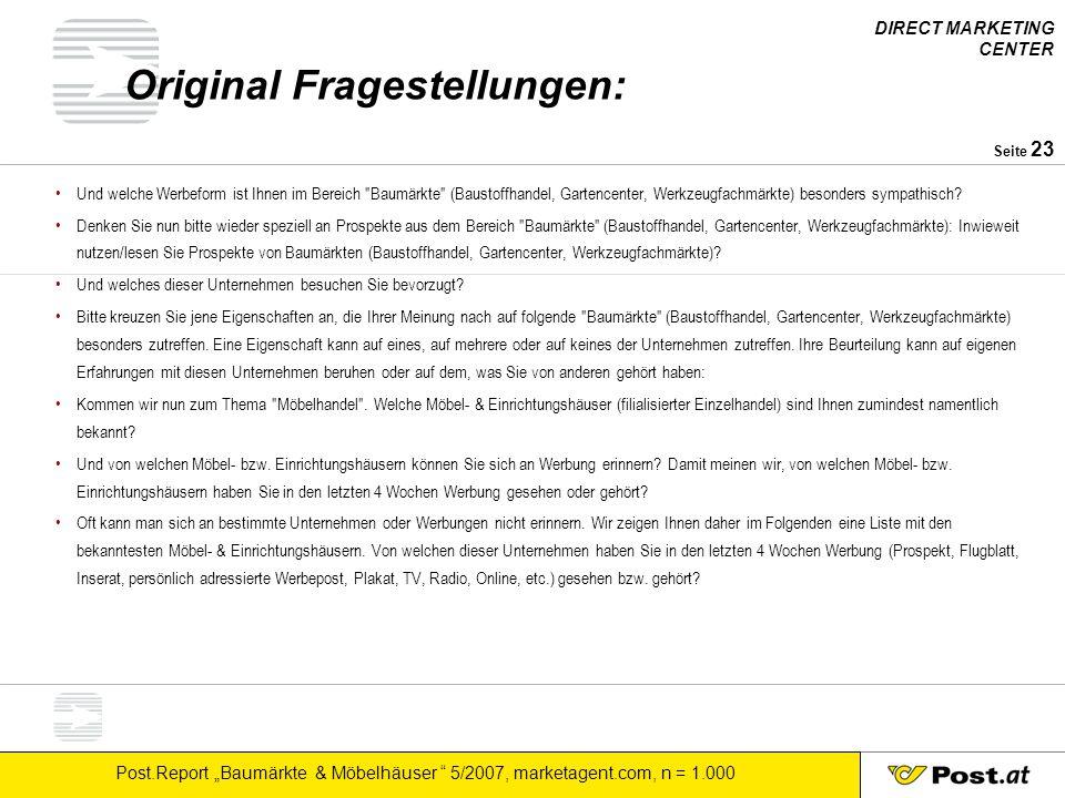 """DIRECT MARKETING CENTER Post.Report """"Baumärkte & Möbelhäuser """" 5/2007, marketagent.com, n = 1.000 Seite 23 Original Fragestellungen: Und welche Werbef"""