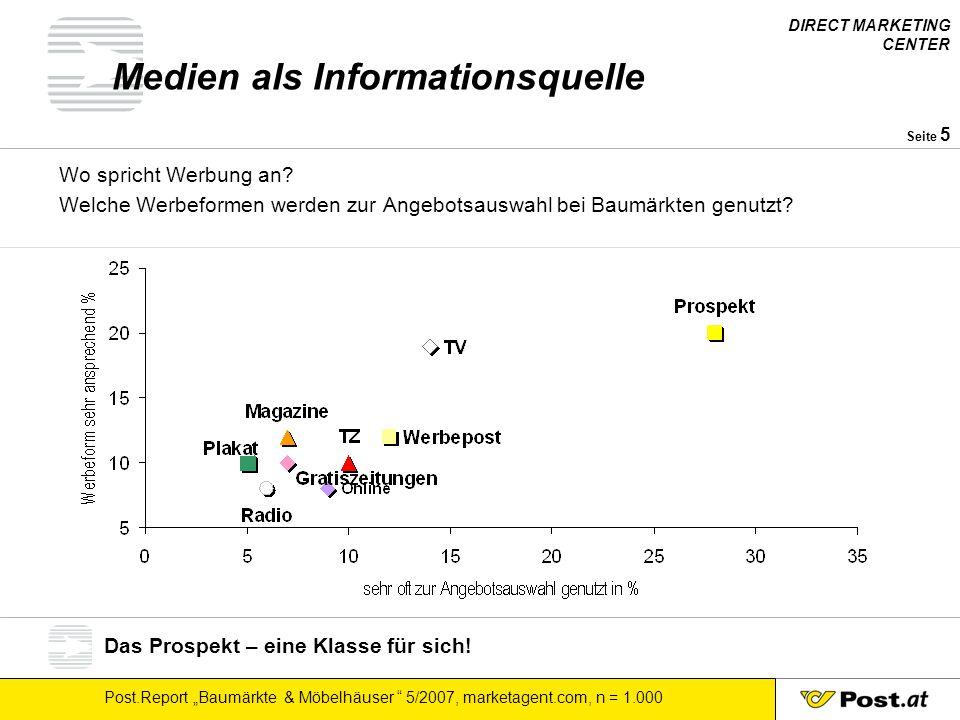 """DIRECT MARKETING CENTER Post.Report """"Baumärkte & Möbelhäuser """" 5/2007, marketagent.com, n = 1.000 Seite 5 Medien als Informationsquelle Wo spricht Wer"""
