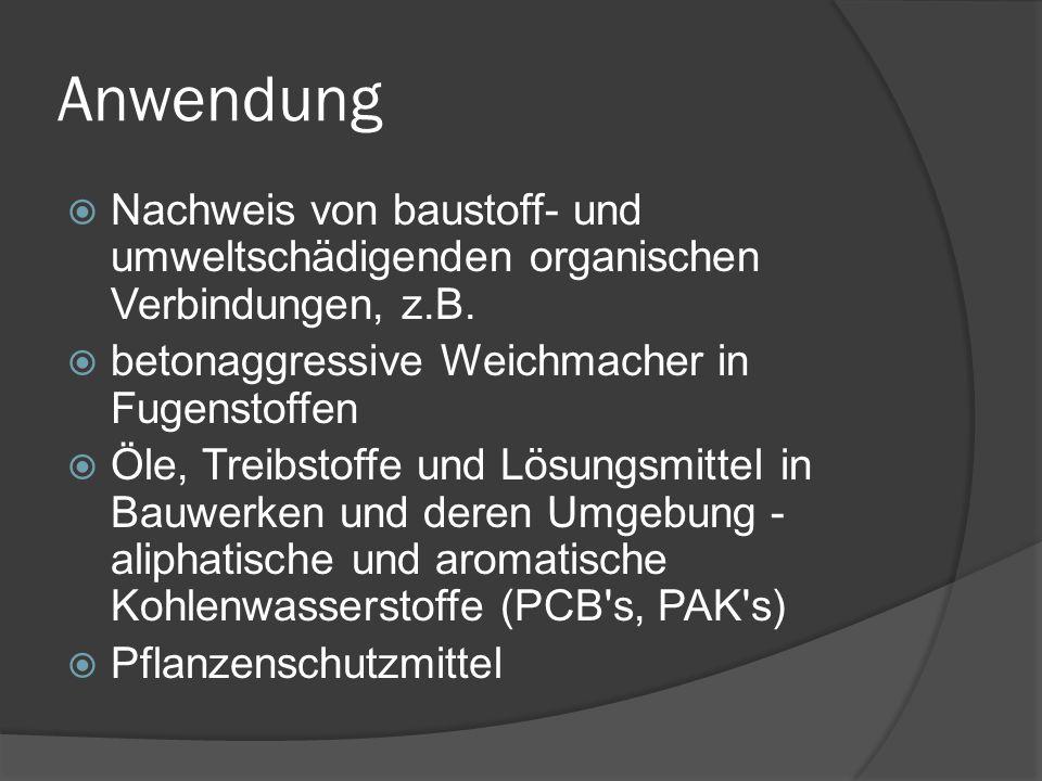 Anwendung  Nachweis von baustoff- und umweltschädigenden organischen Verbindungen, z.B.