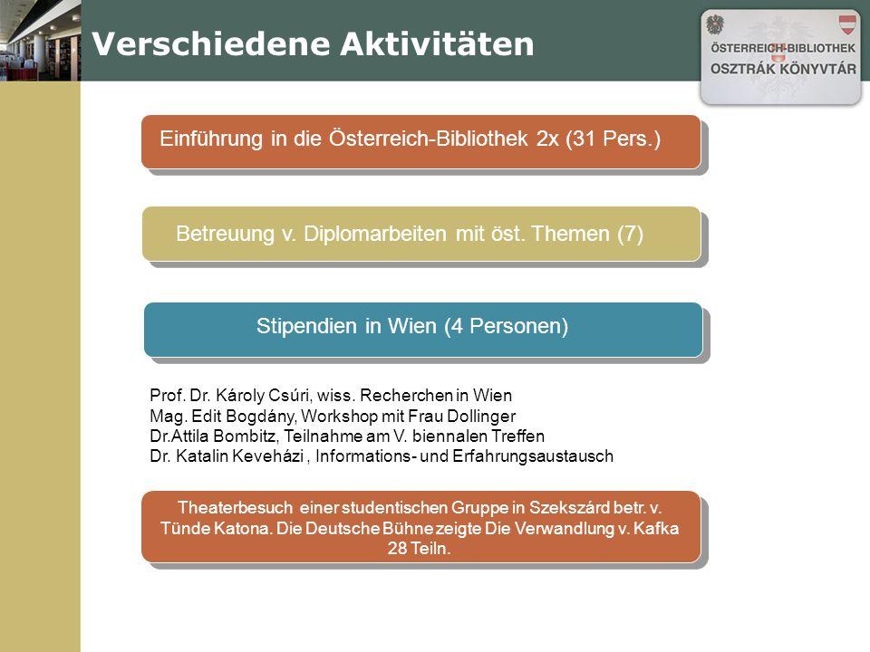 Verschiedene Aktivitäten Einführung in die Österreich-Bibliothek 2x (31 Pers.) Betreuung v. Diplomarbeiten mit öst. Themen (7) Stipendien in Wien (4 P