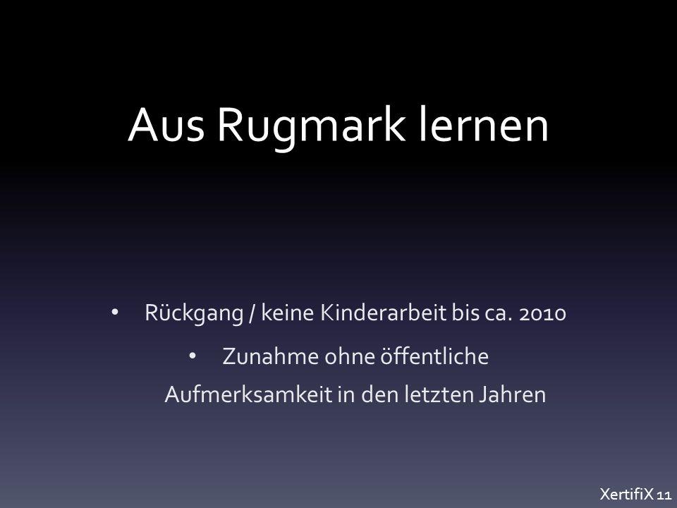 Aus Rugmark lernen Rückgang / keine Kinderarbeit bis ca.