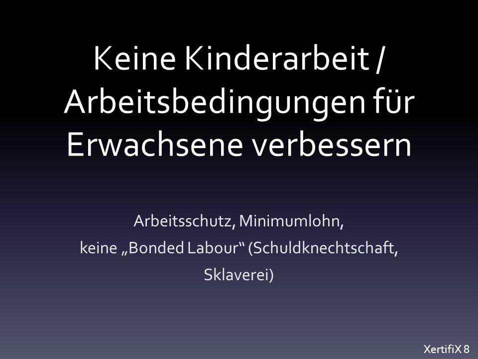"""Keine Kinderarbeit / Arbeitsbedingungen für Erwachsene verbessern Arbeitsschutz, Minimumlohn, keine """"Bonded Labour (Schuldknechtschaft, Sklaverei) XertifiX 8"""