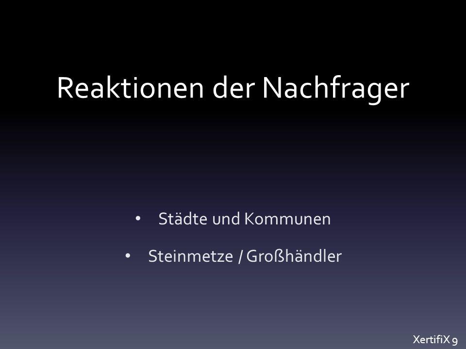 Reaktionen der Nachfrager Städte und Kommunen Steinmetze / Großhändler XertifiX 9