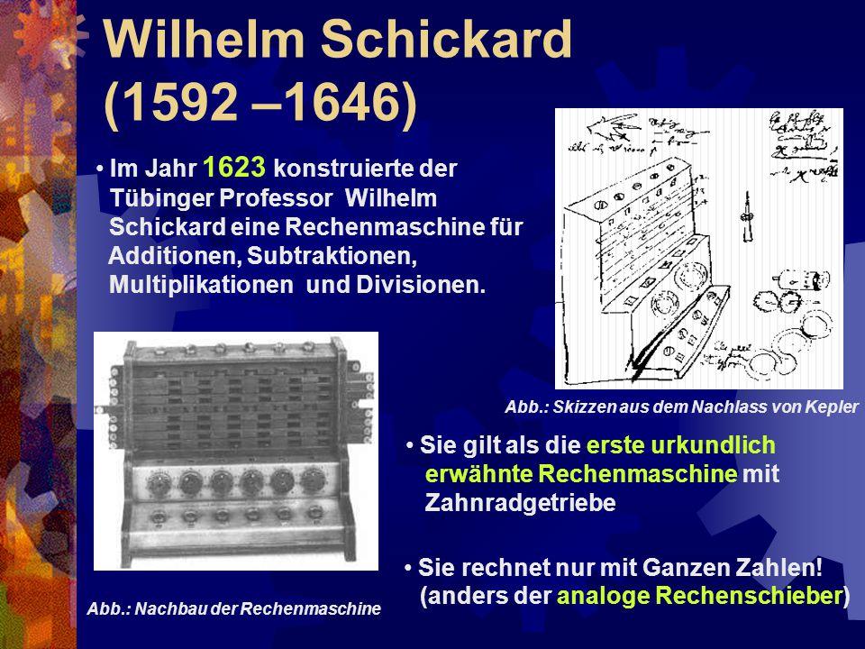 Wilhelm Schickard (1592 –1646) Im Jahr 1623 konstruierte der Tübinger Professor Wilhelm Schickard eine Rechenmaschine für Additionen, Subtraktionen, M