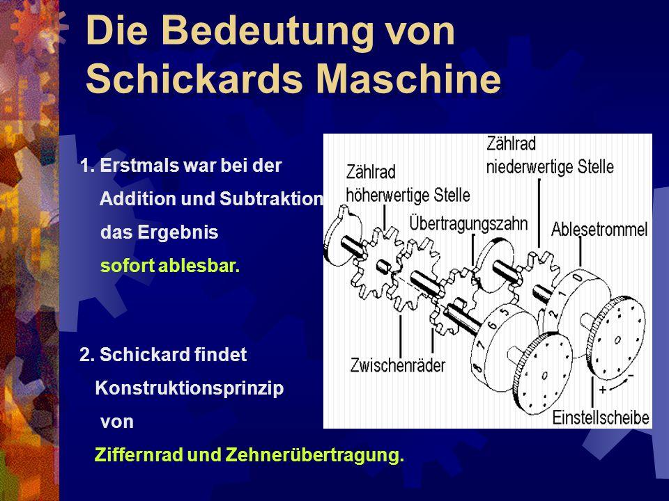 Die Bedeutung von Schickards Maschine 1. Erstmals war bei der Addition und Subtraktion das Ergebnis sofort ablesbar. 2. Schickard findet Konstruktions