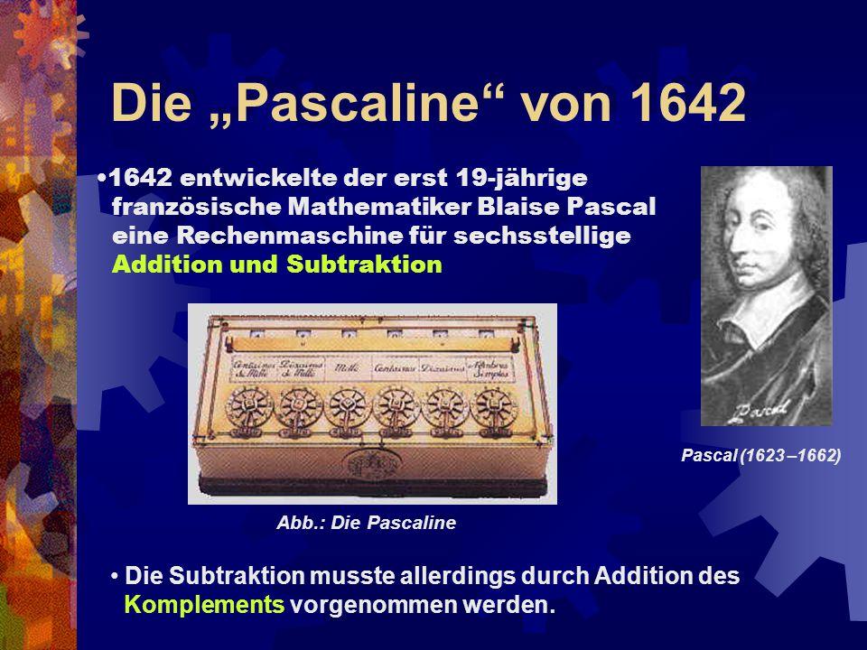 """Die """"Pascaline"""" von 1642 1642 entwickelte der erst 19-jährige französische Mathematiker Blaise Pascal eine Rechenmaschine für sechsstellige Addition u"""