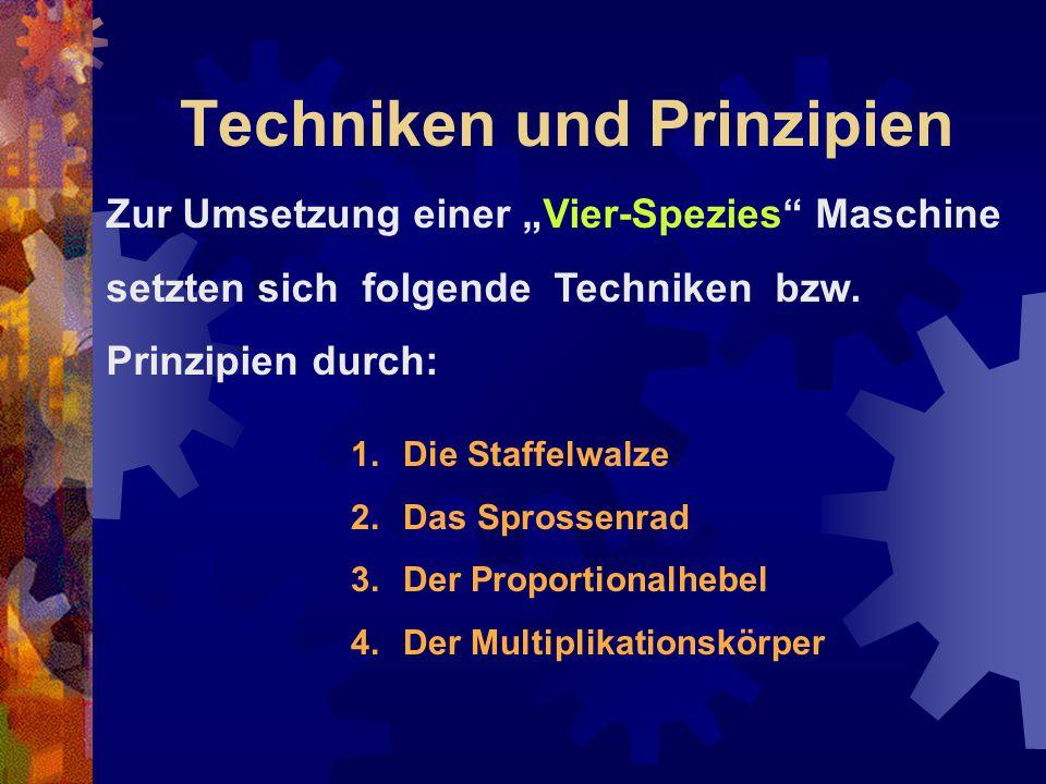"""Techniken und Prinzipien 1.Die Staffelwalze 2.Das Sprossenrad 3.Der Proportionalhebel 4.Der Multiplikationskörper Zur Umsetzung einer """"Vier-Spezies"""" M"""