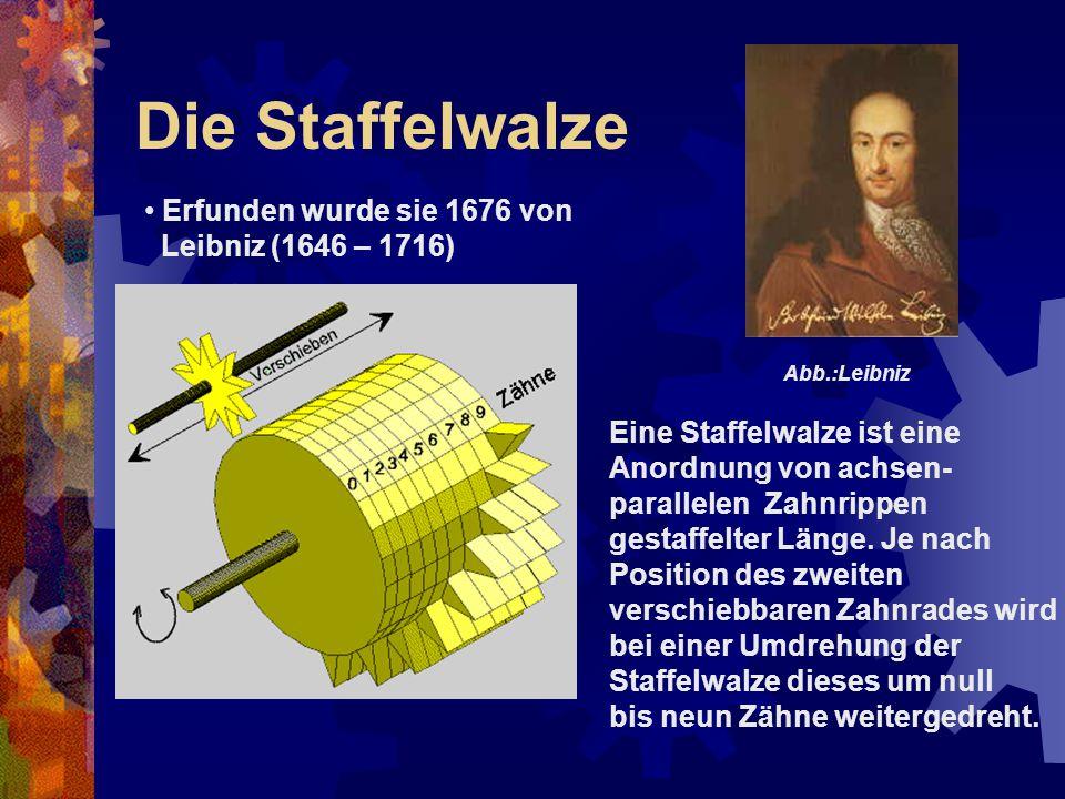 Die Staffelwalze Erfunden wurde sie 1676 von Leibniz (1646 – 1716) Eine Staffelwalze ist eine Anordnung von achsen- parallelen Zahnrippen gestaffelter