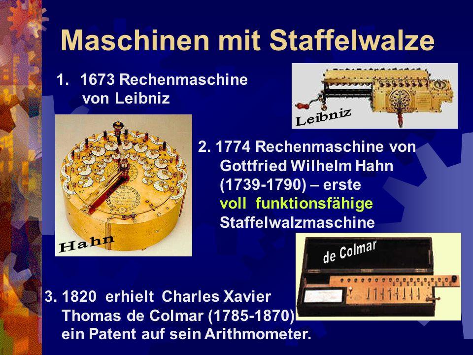 Maschinen mit Staffelwalze 1.1673 Rechenmaschine von Leibniz 2. 1774 Rechenmaschine von Gottfried Wilhelm Hahn (1739-1790) – erste voll funktionsfähig