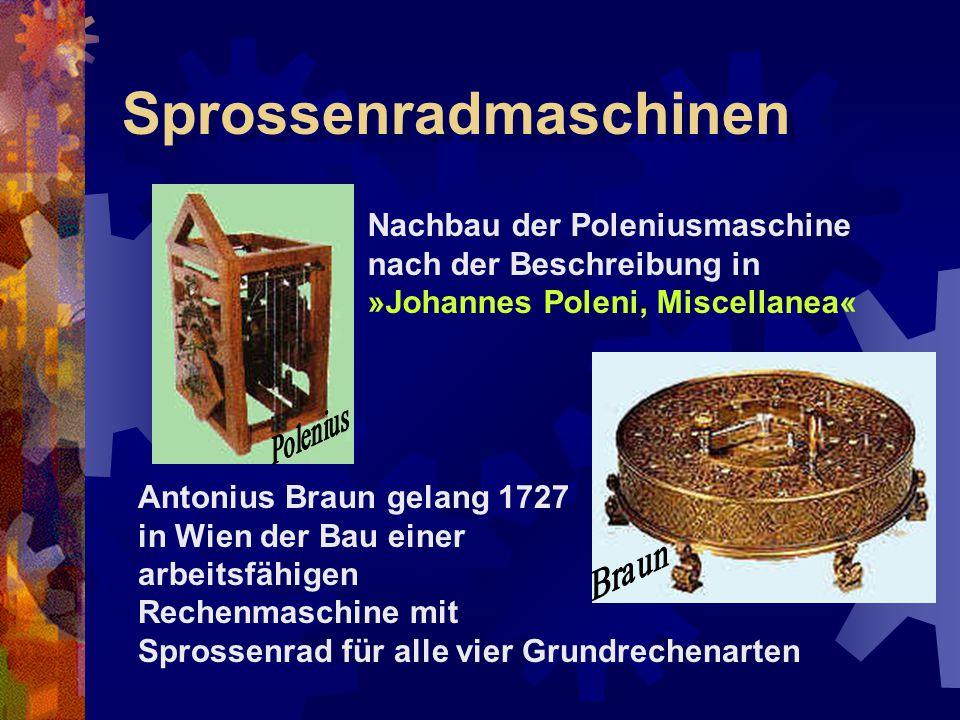 Sprossenradmaschinen Nachbau der Poleniusmaschine nach der Beschreibung in »Johannes Poleni, Miscellanea« Antonius Braun gelang 1727 in Wien der Bau e