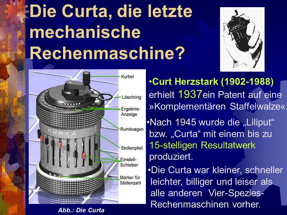 Die Curta, die letzte mechanische Rechenmaschine? Curt Herzstark (1902-1988) erhielt 1937 ein Patent auf eine »Komplementären Staffelwalze«. Abb.: Die