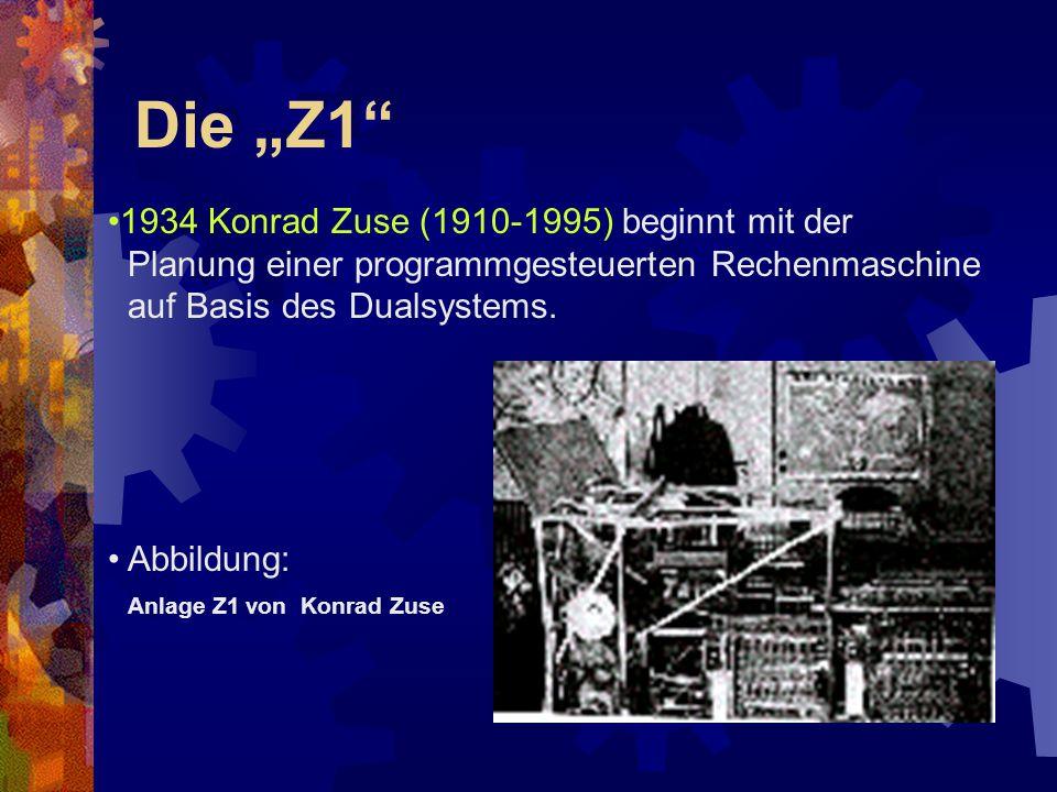 """Die """"Z1"""" 1934 Konrad Zuse (1910-1995) beginnt mit der Planung einer programmgesteuerten Rechenmaschine auf Basis des Dualsystems. Abbildung: Anlage Z1"""
