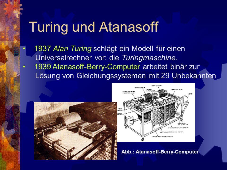 Turing und Atanasoff 1937 Alan Turing schlägt ein Modell für einen Universalrechner vor: die Turingmaschine. 1939 Atanasoff-Berry-Computer arbeitet bi