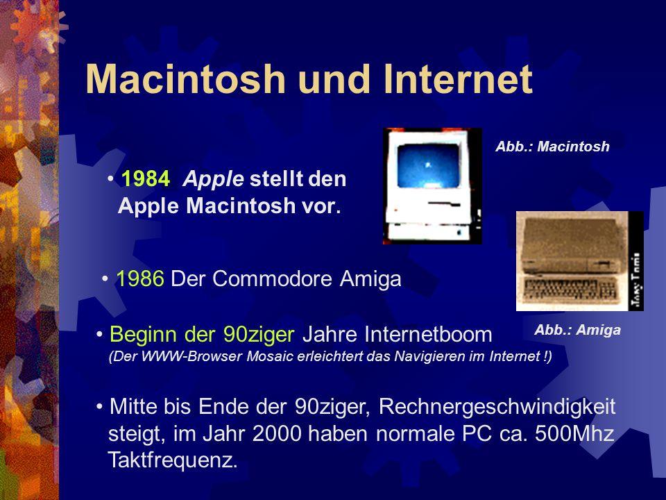 Macintosh und Internet 1984 Apple stellt den Apple Macintosh vor. 1986 Der Commodore Amiga Beginn der 90ziger Jahre Internetboom (Der WWW-Browser Mosa