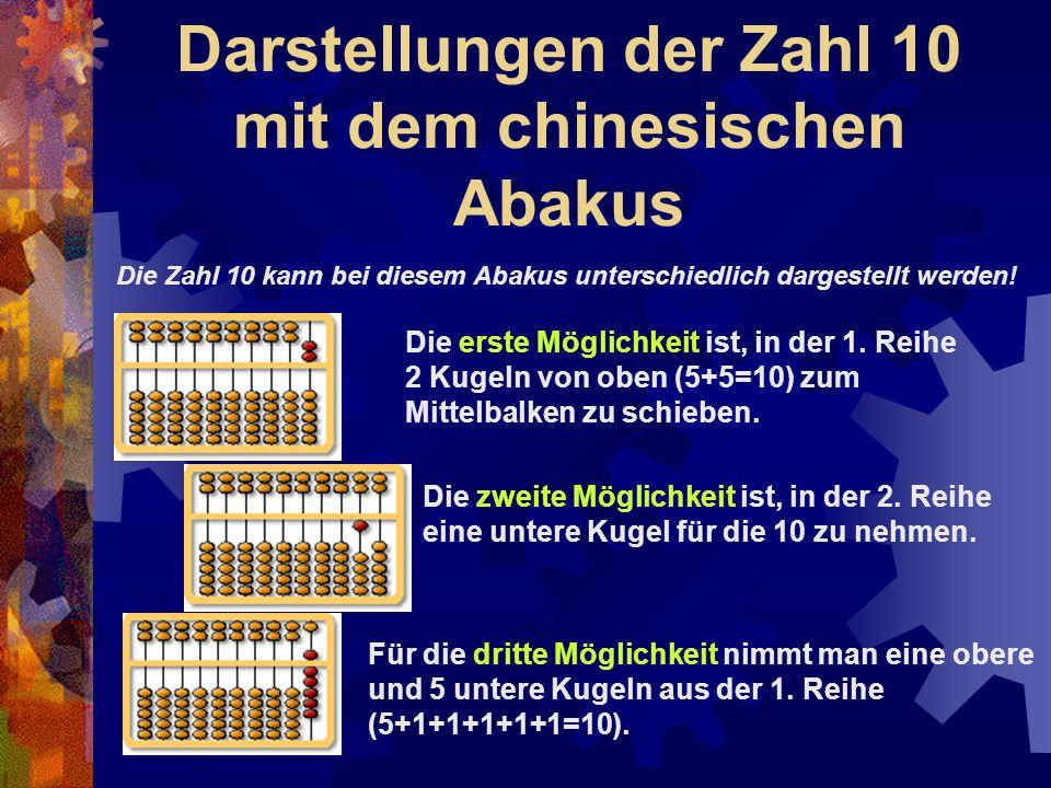 Darstellungen der Zahl 10 mit dem chinesischen Abakus Die erste Möglichkeit ist, in der 1. Reihe 2 Kugeln von oben (5+5=10) zum Mittelbalken zu schieb