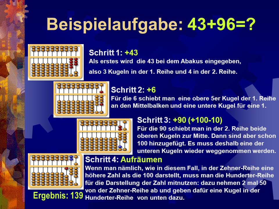 Beispielaufgabe: 43+96=? Schritt 1: +43 Als erstes wird die 43 bei dem Abakus eingegeben, also 3 Kugeln in der 1. Reihe und 4 in der 2. Reihe. Schritt