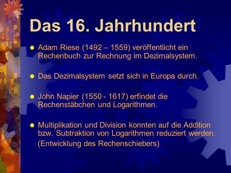 Das 16. Jahrhundert  Adam Riese (1492 – 1559) veröffentlicht ein Rechenbuch zur Rechnung im Dezimalsystem.  Das Dezimalsystem setzt sich in Europa d