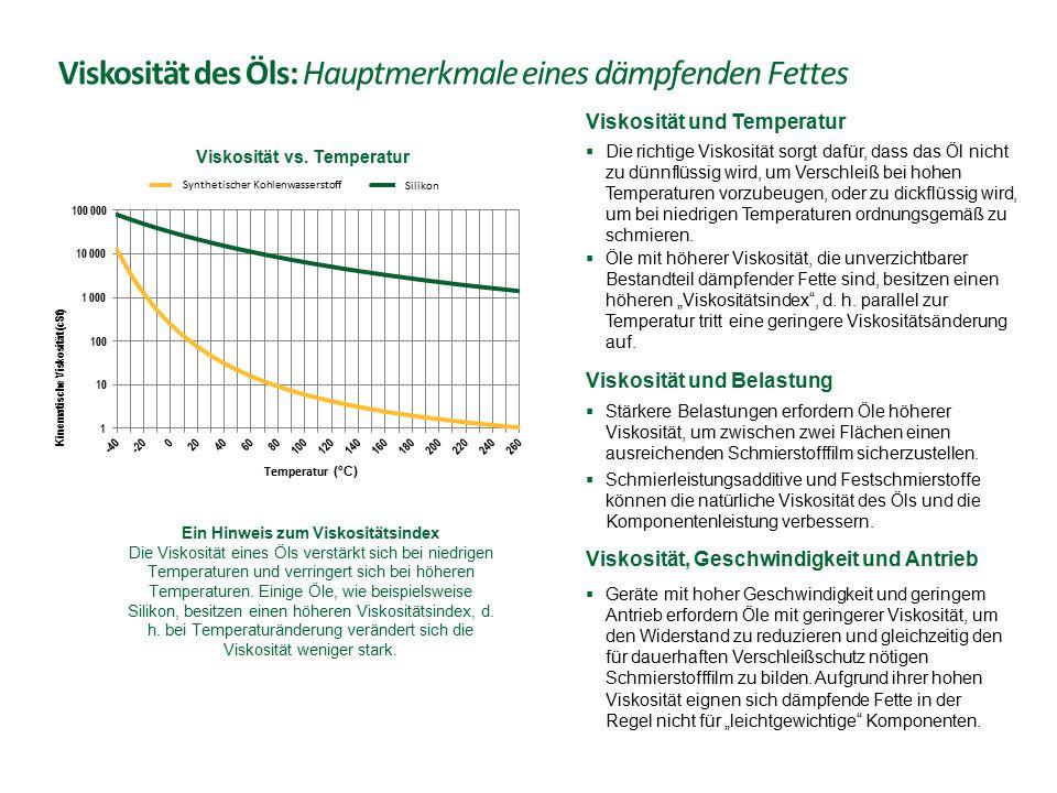 Viskosität des Öls: Hauptmerkmale eines dämpfenden Fettes  Geräte mit hoher Geschwindigkeit und geringem Antrieb erfordern Öle mit geringerer Viskosi
