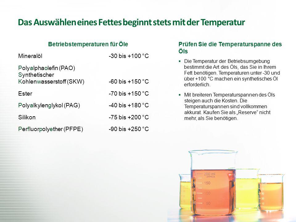 Das Auswählen eines Fettes beginnt stets mit der Temperatur Prüfen Sie die Temperaturspanne des Öls  Die Temperatur der Betriebsumgebung bestimmt die