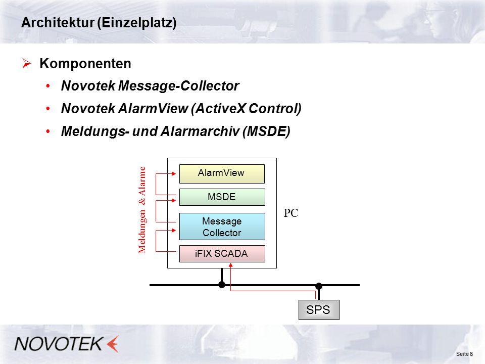 6 Seite 6 Architektur (Einzelplatz)  Komponenten Novotek Message-Collector Novotek AlarmView (ActiveX Control) Meldungs- und Alarmarchiv (MSDE) Message Collector AlarmView MSDE iFIX SCADA SPS PC Meldungen & Alarme