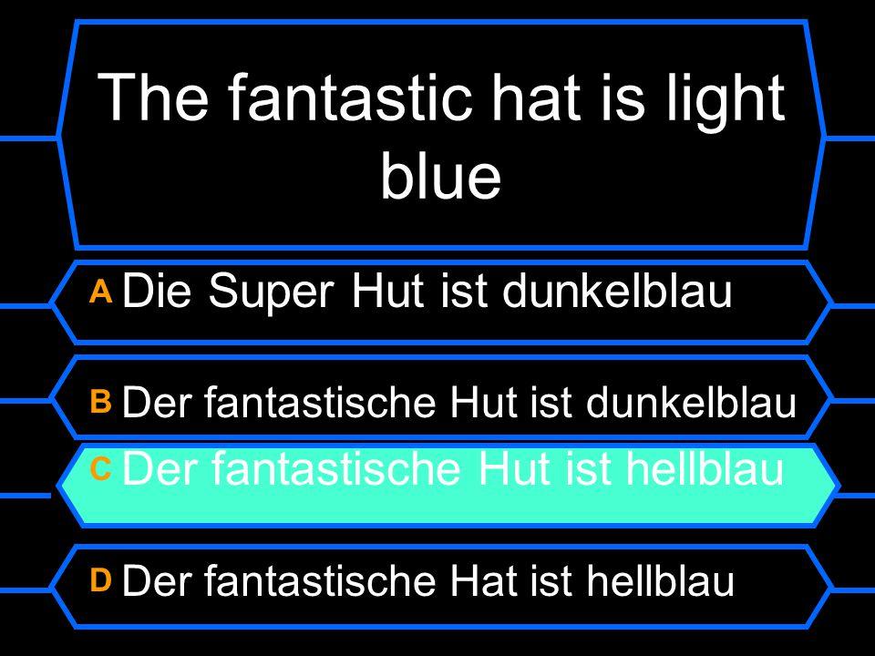 The fantastic hat is light blue A Die Super Hut ist dunkelblau B Der fantastische Hut ist dunkelblau C Der fantastische Hut ist hellblau D Der fantastische Hat ist hellblau