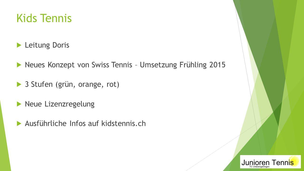 Kids Tennis  Leitung Doris  Neues Konzept von Swiss Tennis – Umsetzung Frühling 2015  3 Stufen (grün, orange, rot)  Neue Lizenzregelung  Ausführl