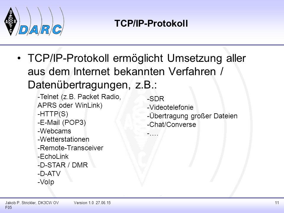TCP/IP-Protokoll ermöglicht Umsetzung aller aus dem Internet bekannten Verfahren / Datenübertragungen, z.B.: Jakob P.