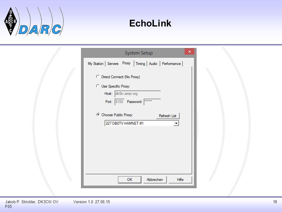 Jakob P. Strickler, DK3CW OV F05 Version 1.0 27.06.1518 EchoLink