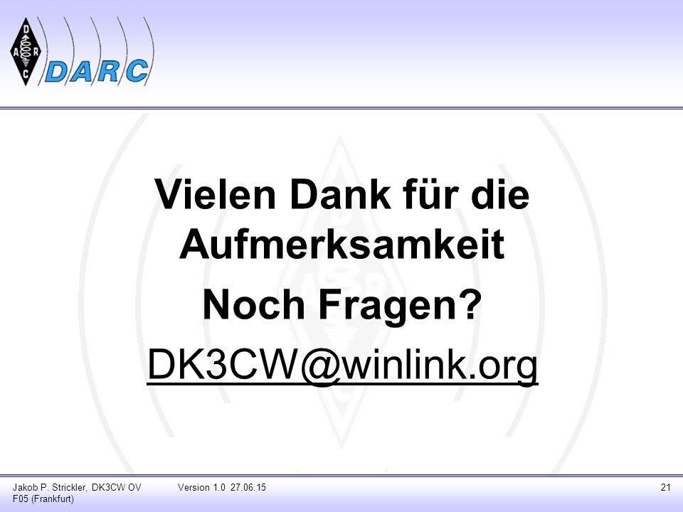 Vielen Dank für die Aufmerksamkeit Noch Fragen.DK3CW@winlink.org Jakob P.