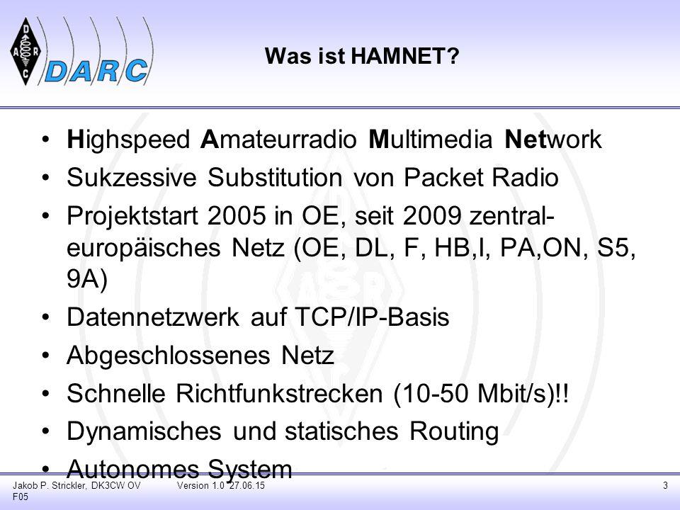 Highspeed Amateurradio Multimedia Network Sukzessive Substitution von Packet Radio Projektstart 2005 in OE, seit 2009 zentral- europäisches Netz (OE, DL, F, HB,I, PA,ON, S5, 9A) Datennetzwerk auf TCP/IP-Basis Abgeschlossenes Netz Schnelle Richtfunkstrecken (10-50 Mbit/s)!.
