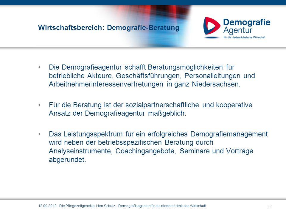 Wirtschaftsbereich: Demografie-Beratung Die Demografieagentur schafft Beratungsmöglichkeiten für betriebliche Akteure, Geschäftsführungen, Personallei