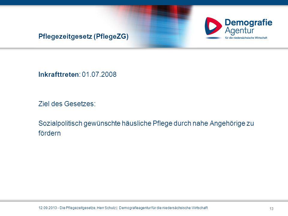 Pflegezeitgesetz (PflegeZG) Inkrafttreten: 01.07.2008 Ziel des Gesetzes: Sozialpolitisch gewünschte häusliche Pflege durch nahe Angehörige zu fördern