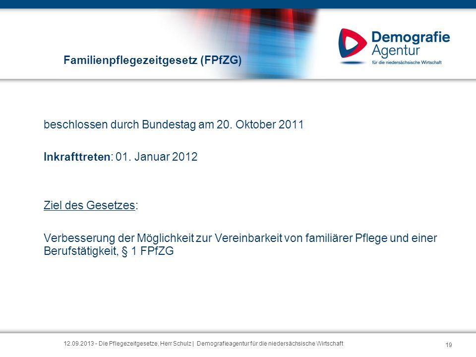 Familienpflegezeitgesetz (FPfZG) beschlossen durch Bundestag am 20. Oktober 2011 Inkrafttreten: 01. Januar 2012 Ziel des Gesetzes: Verbesserung der Mö