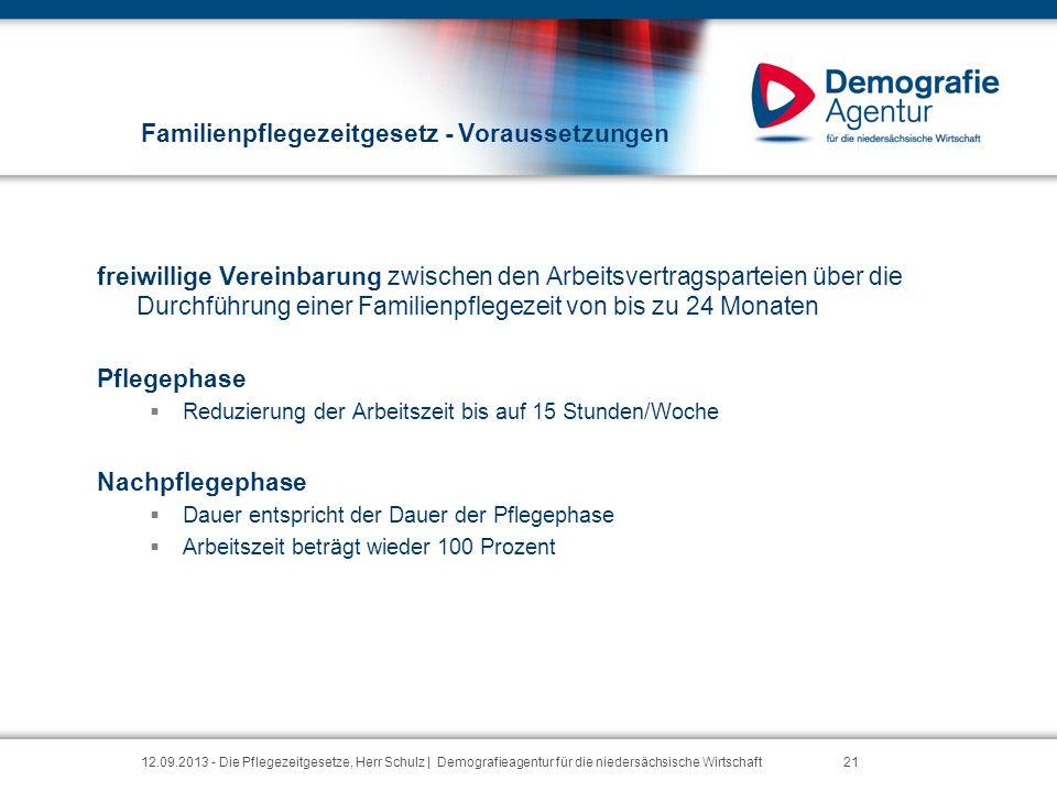 Familienpflegezeitgesetz - Voraussetzungen freiwillige Vereinbarung zwischen den Arbeitsvertragsparteien über die Durchführung einer Familienpflegezei