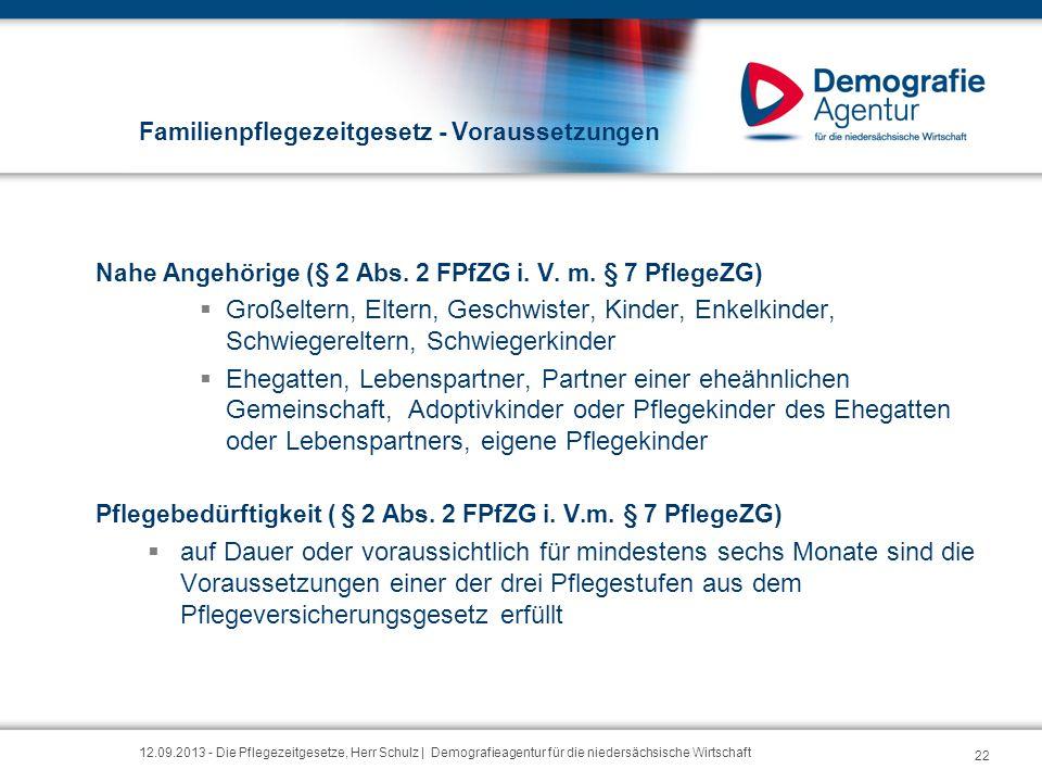 Familienpflegezeitgesetz - Voraussetzungen Nahe Angehörige (§ 2 Abs. 2 FPfZG i. V. m. § 7 PflegeZG)  Großeltern, Eltern, Geschwister, Kinder, Enkelki