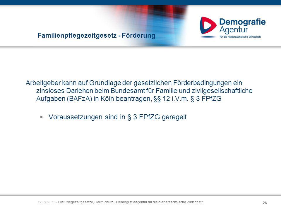 Familienpflegezeitgesetz - Förderung Arbeitgeber kann auf Grundlage der gesetzlichen Förderbedingungen ein zinsloses Darlehen beim Bundesamt für Famil