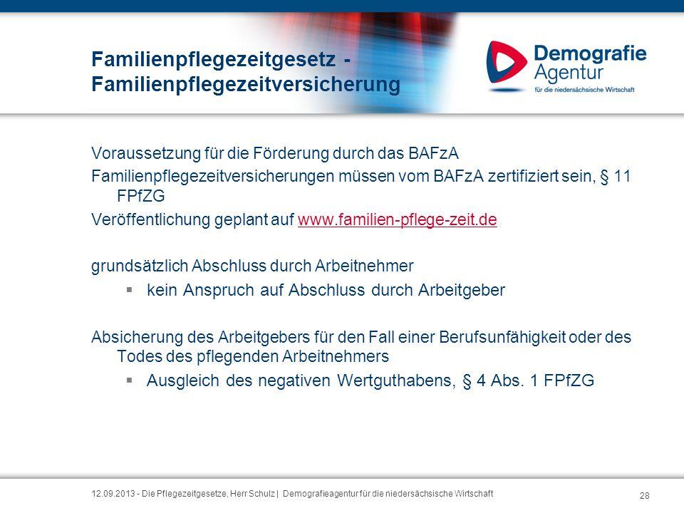 Familienpflegezeitgesetz - Familienpflegezeitversicherung Voraussetzung für die Förderung durch das BAFzA Familienpflegezeitversicherungen müssen vom