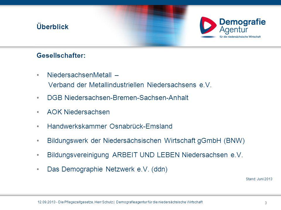Überblick Gesellschafter: NiedersachsenMetall – Verband der Metallindustriellen Niedersachsens e.V. DGB Niedersachsen-Bremen-Sachsen-Anhalt AOK Nieder