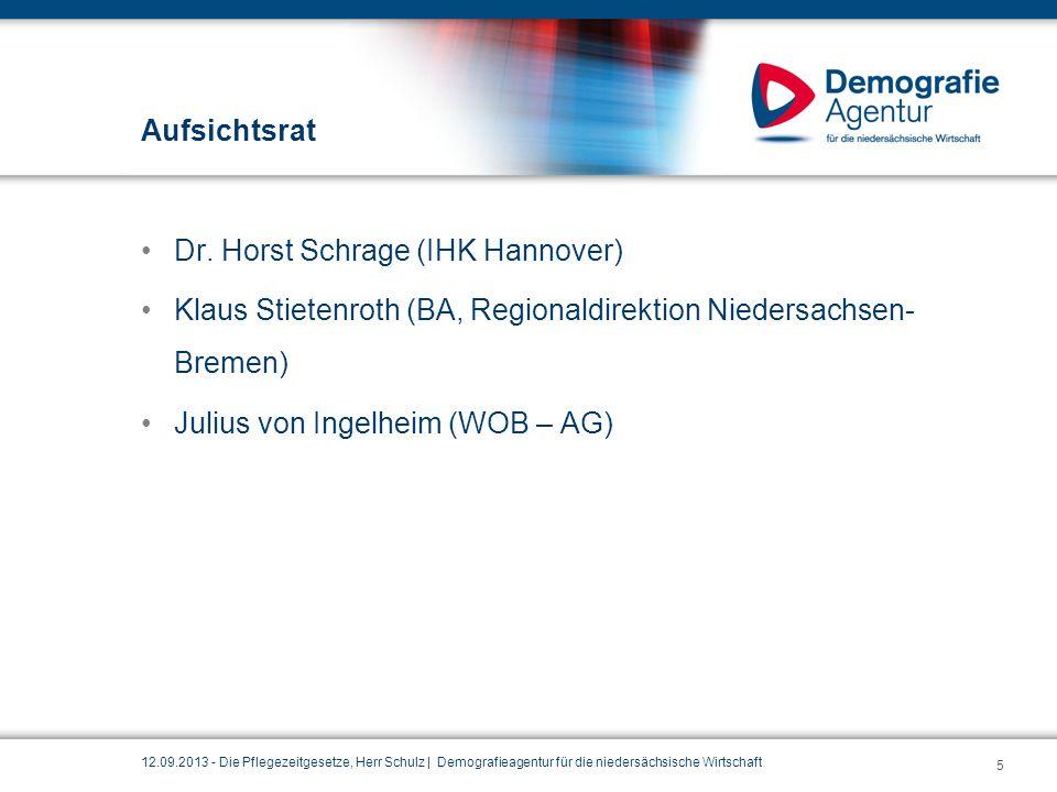 Aufsichtsrat Dr. Horst Schrage (IHK Hannover) Klaus Stietenroth (BA, Regionaldirektion Niedersachsen- Bremen) Julius von Ingelheim (WOB – AG) 12.09.20