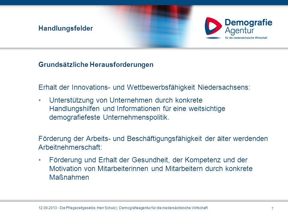 Handlungsfelder Grundsätzliche Herausforderungen Erhalt der Innovations- und Wettbewerbsfähigkeit Niedersachsens: Unterstützung von Unternehmen durch