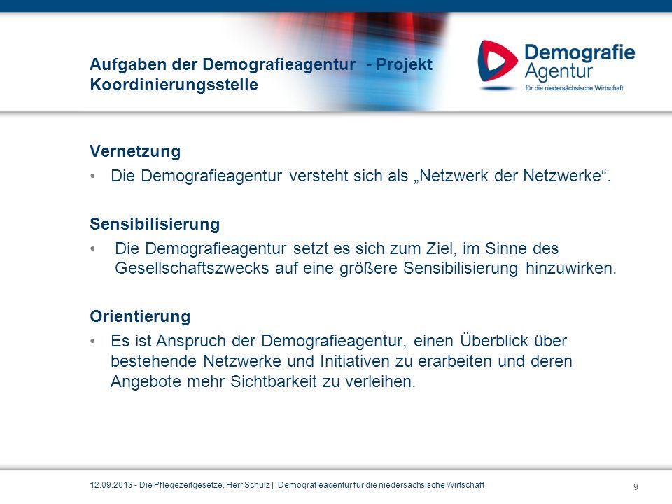 """Aufgaben der Demografieagentur - Projekt Koordinierungsstelle Vernetzung Die Demografieagentur versteht sich als """"Netzwerk der Netzwerke"""". Sensibilisi"""