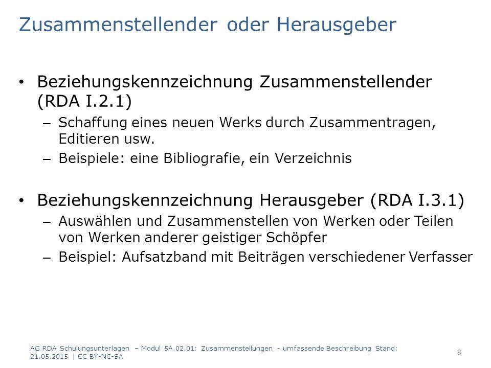 Umfassende Beschreibung Prinzip: Mit übergeordnetem Titel (RDA 2.3.2.6) – Übergeordneter Titel wird zum Haupttitel der Manifestation – Hauptsächliches in der Manifestation verkörpertes Werk ist das Werk der Zusammenstellung, enthaltene Werke können als in Beziehung stehende Werke erfasst werden – vorliegenden Titel der Teile können als Titel von in Beziehung stehenden Manifestationen erfasst werden Ohne übergeordneten Titel (RDA 2.3.2.9) – Alle Manifestationstitel werden erfasst – Nur das erste oder hauptsächliche in der Manifestation verkörperte Werk muss erfasst werden AG RDA Schulungsunterlagen – Modul 5A.02.01: Zusammenstellungen - umfassende Beschreibung Stand: 21.05.2015   CC BY-NC-SA 9