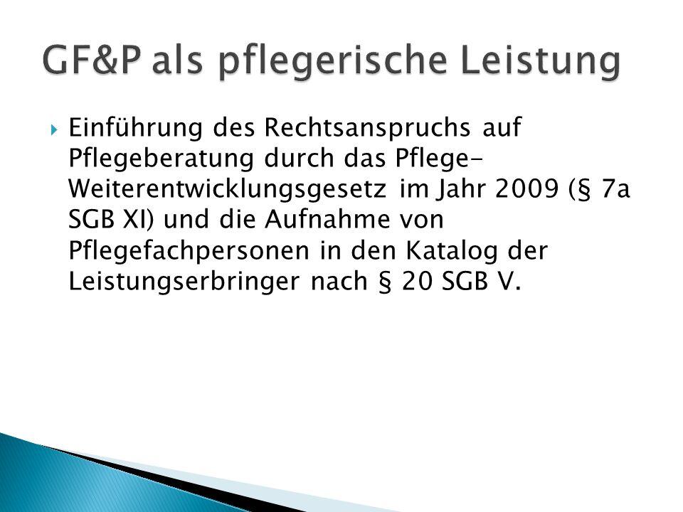  Einführung des Rechtsanspruchs auf Pflegeberatung durch das Pflege- Weiterentwicklungsgesetz im Jahr 2009 (§ 7a SGB XI) und die Aufnahme von Pflegef
