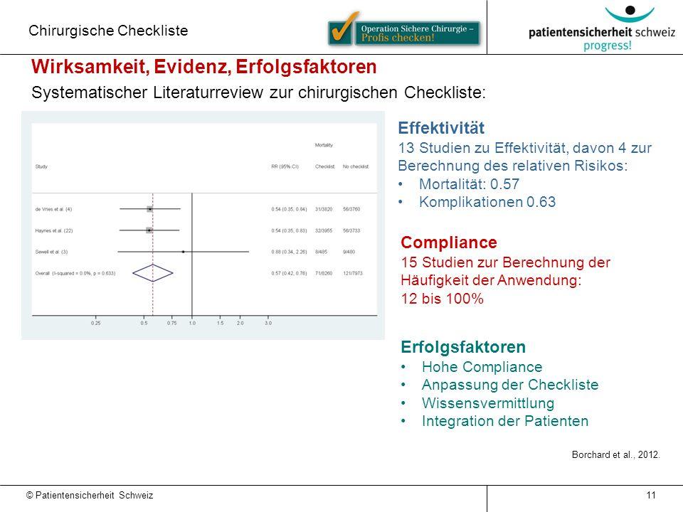 11 Effektivität 13 Studien zu Effektivität, davon 4 zur Berechnung des relativen Risikos: Mortalität: 0.57 Komplikationen 0.63 Compliance 15 Studien z
