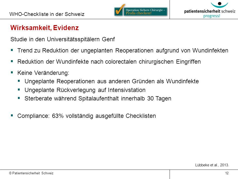 WHO-Checkliste in der Schweiz 12 Wirksamkeit, Evidenz Studie in den Universitätsspitälern Genf  Trend zu Reduktion der ungeplanten Reoperationen aufg