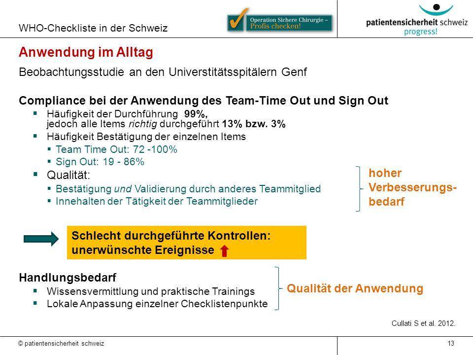 Schlecht durchgeführte Kontrollen: unerwünschte Ereignisse WHO-Checkliste in der Schweiz © patientensicherheit schweiz 13 Anwendung im Alltag Beobacht