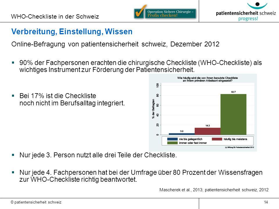 WHO-Checkliste in der Schweiz © patientensicherheit schweiz 14 Verbreitung, Einstellung, Wissen Online-Befragung von patientensicherheit schweiz, Deze