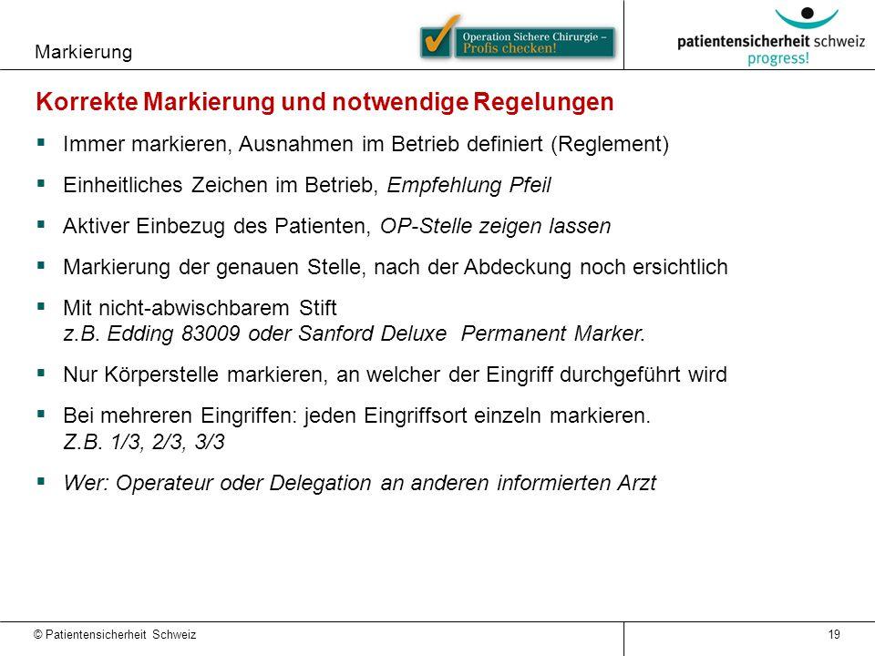Markierung © Patientensicherheit Schweiz 19 Korrekte Markierung und notwendige Regelungen  Immer markieren, Ausnahmen im Betrieb definiert (Reglement
