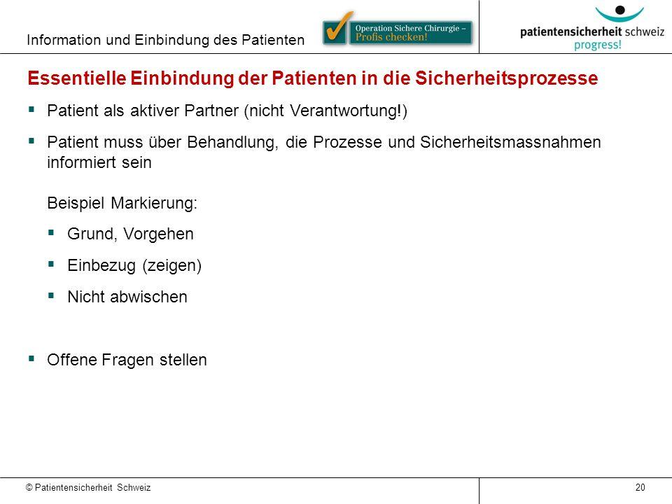Information und Einbindung des Patienten 20 Essentielle Einbindung der Patienten in die Sicherheitsprozesse  Patient als aktiver Partner (nicht Veran