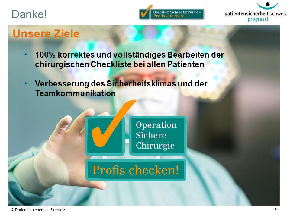 Danke! 31 Unsere Ziele 100% korrektes und vollständiges Bearbeiten der chirurgischen Checkliste bei allen Patienten Verbesserung des Sicherheitsklimas